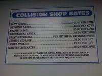 Mechanic Labor Rate Chart The Shop Auto Repair Detailing