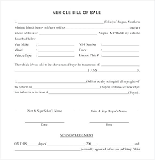Printable Automobile Bill Of Sale Fresh Free Automobile Bill Sale Template Of Vehicle For Used