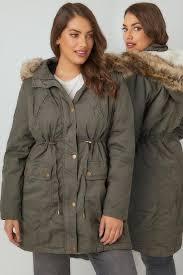 plus size parka khaki cotton parka with faux fur trim hood plus size 16 to 36
