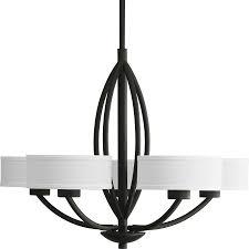 black chandelier lighting. Progress Lighting Calven 30-in 5-Light Forged Black Shaded Chandelier