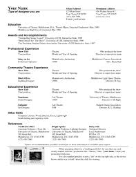 Musical Theatre Resume Musical Theater Resume Format Musical Theatre Resume Template 46