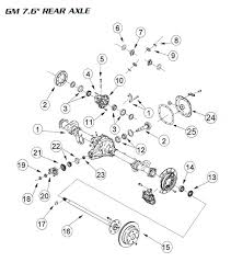 7 5 inch 7 60 and 7 625 rearend rebuild parts ring and pinion gm 7 5 rear end parts illustration