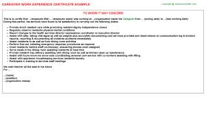 Careg As Employment Certificate Sample For Caregiver Best Of Sample