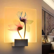 Simple Led Wall Lamp Transparent Flower Printed Hotel Light
