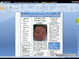 Baby Newspaper Birth Announcements