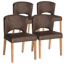Esszimmer Stuhl Set Rimini 4 Stück Festgepolstert Wildlederoptik Braun