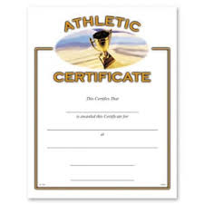Athletic Certificate Awards