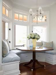 Delightful Interior Decoration With Various Bay Window Seat Cushions :  Enchanting Small Dining Room Decoration Using
