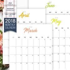 Printable Calendar Pdf Cool 488 Monthly Calendar Printable Monthly Calendar PDF A48 US Etsy