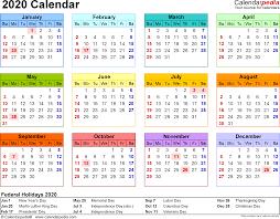 2020 Calendar Excel Calendar Printable Week