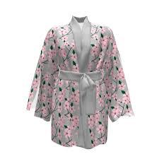 Kimono Robe Pattern Delectable Asaka Kimono Pink Blossom On Peaceful Gray Kimono Robe Sprout