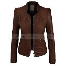womens dark brown faux leather biker jacket