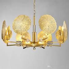 modern gold flower copper chandelier led lamp suspension lighting 6 8 heads nordic dining room hanging lamps home lighting f042 outdoor pendant lighting