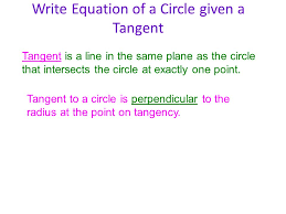 write equation of a circle given a tangent