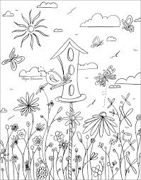 Small Picture Whimsical Bird House Flowers Free Coloring Page Download for