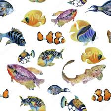 marine life watercolor seamless pattern with tropical fish stock vector