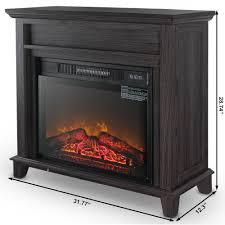 della 23 electric stove portable fireplace with infrared 3d flame and burning log effect settings gray com