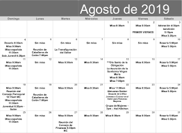 August Calandar August 2019 Spanish Calendar Our Lady Of The Blessed