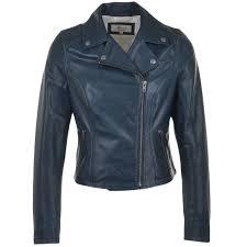 las leather biker jacket navy roxy