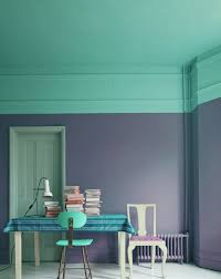walls view in gallery bright teal and a darker shade of purple