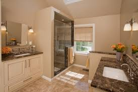 Master Bathroom Layouts with framed glass shower door next to vanity for bathroom  design idea