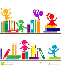 shelves with books and kids playing