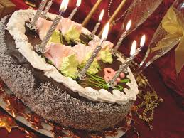 Photo Celebratory Table Birthday Cake And Candles Two Glasses With