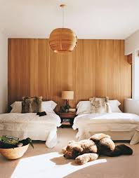Minimalist Bedroom With Statement Wood Panel Wall | NONAGON.style