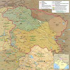 kashmir simple english the encyclopedia a map of kashmir showing the lines of control in more detail n controlled territory is yellow light brown controlled territory is green