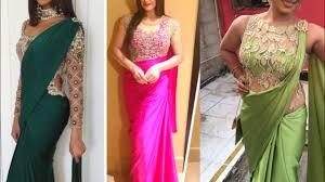Simple Saree With Heavy Designer Blouse Plain Saree With Heavy Blouse Design Ideas Gown Style Saree Design Ideas Satin Saree Dress