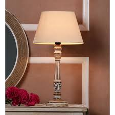 Décor Mart Designer White Wash Wood Lamp With Natural Shade