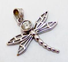 14k white gold diamond dragonfly pendant tw 1 8g