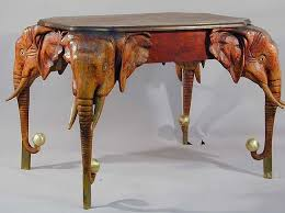 indian carved dining table. antique carved wood elefant dining table indian e