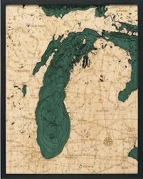 Lake Michigan 3 D Nautical Wood Chart 24 5 X 31 New Revision