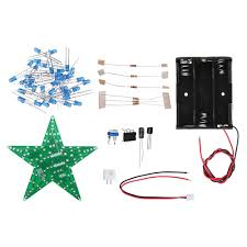 Diy Light Kit 5pcs Diy Blue Light Led Flash Kit With Battery Box Pentagram Light Star Light Kit