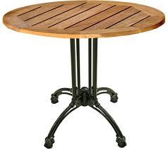 round teak patio table w black cast