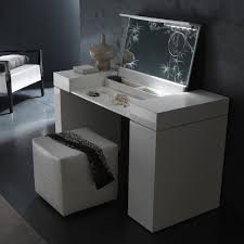 modern white vanity desk with flip up mirror and lighting plus square leather bench 16