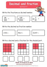 Decimal and Fraction – Maths Worksheets for Kids – Mocomi.com