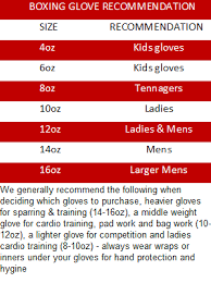Boxing Glove Size Chart Muay Thai Gloves Size Chart Images Gloves And Descriptions