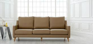 dwell echo scandinavian leather 3 seater sofa mocha