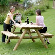 picnic table 4 seater round legs
