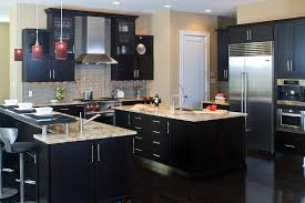 Lovely Contemporary Dark Wood Kitchen Cabinets A Contemporary