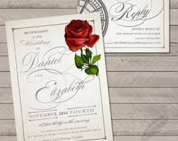 beauty beast rsvp etsy Wedding Invite Rsvp Time classic rose wedding set invitations and rsvp, beauty, beast, roses, tale, wedding invite rsvp time