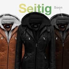 women vegan leather jacket with detachable hood seitig model by hoffen