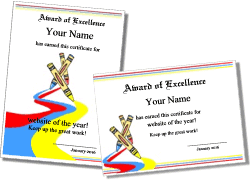 Award Of Excellence Certificate Template Printable Art Certificates and Art Award Templates 83