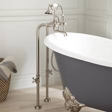 The Traditional English Style Telephone Faucet Comes Complete With Metal Cross Handles And Lever Diverter With Porcelain Buttons Hand Shower With Porcelain