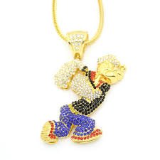 King crown lion pendant in gold. Popeye Iced Out Gold Necklace Lordrich Jewelry
