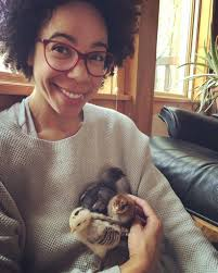 "Dr. Ayana Elizabeth Johnson 🇺🇸 on Twitter: ""Day 2 of #BlackBirdersWeek!  Today we #PostABird. Although I'm a marine biologist, my mom is a farmer.  So, here's me with chicks at our farm"
