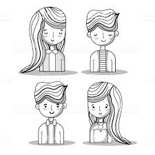 女性と男性のヘアスタイルのデザインを設定します イラストレーション