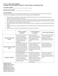 "educational autobiography rubric  acp 101 first year seminara rubric for evaluating students ""educational autobiographies""student s"